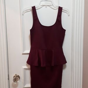 🛍️ NWOT Maroon peplum dress